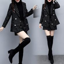 2019新款女装秋冬两件套裤短外套休闲时尚套装女