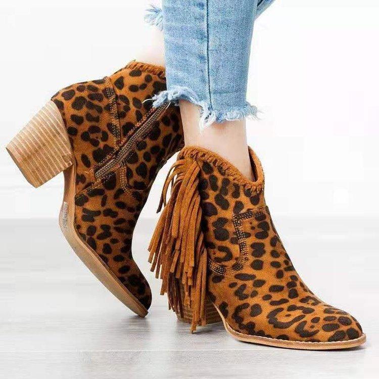 亚马逊速卖通冬跨境新款粗跟尖头马丁靴流苏平底裸靴豹纹大码女鞋