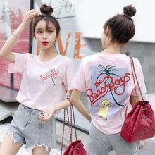 2019新款女装韩版ulzzan背后印花休闲圆领短袖t恤女上衣