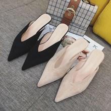 春季尖头细跟奶奶鞋韩版百搭舒适v口中跟凉拖