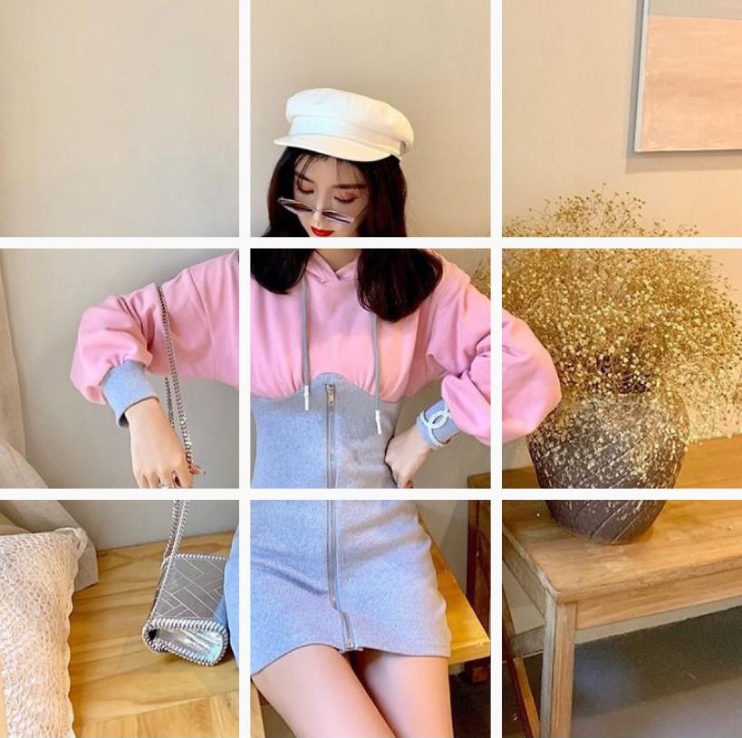 小众桔梗裙秋季时尚修身短裙显瘦连帽拼接包臂连衣裙女Q394