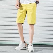 青年男士夏季浅色宽松5五分裤百搭弹力个性黄色休闲短裤 一件代发