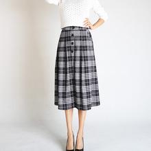 高腰格子半身裙2019秋季新款一步裙中长款裙子