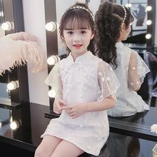 儿童2019新款中国民族风童裙子女童夏装?#34892;?#31461;小花纱裙一件代发