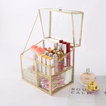 欧式铜边玻璃化妆品收纳盒化妆刷收纳筒口红收纳桶防尘带盖化妆盒