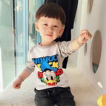 2019爆款莱卡童装儿童圆领长袖T恤秋季打底衫休闲男童纯棉长袖T恤