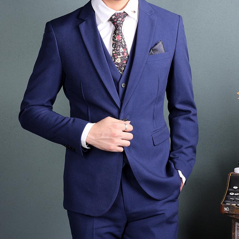 男士纯色修身西服 春秋季显瘦新郎礼服suit ol白领男装西服两件套