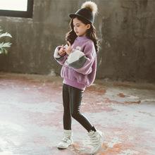 童装2019秋冬新款女童上衣时尚休闲数字图案毛衣套头衫一件代发潮