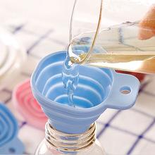 方形可伸缩漏斗 厨房液体分装器工具食品级硅胶长颈油漏斗