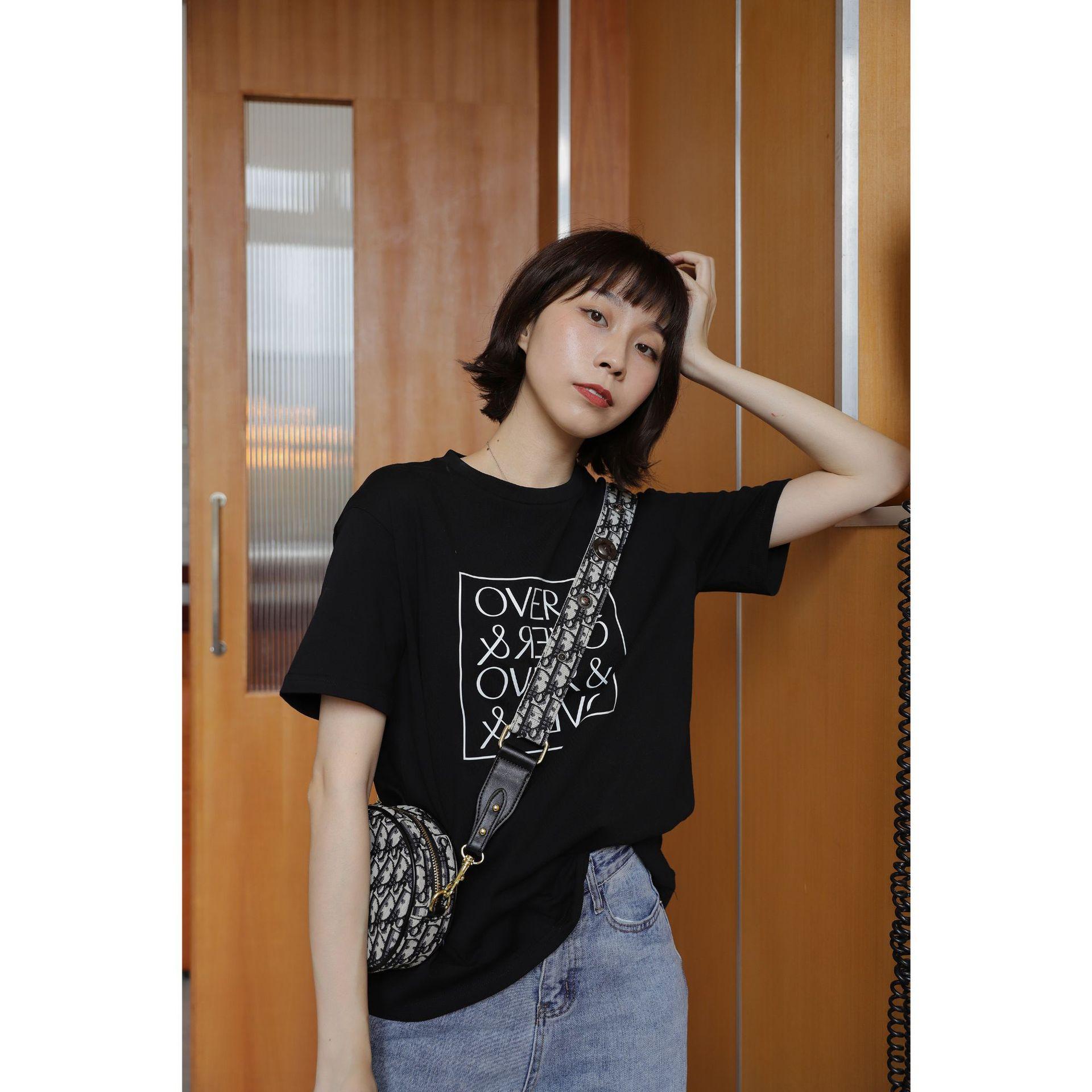 2019新款短袖女韩版原宿风港味宽松字母涂鸦圆领T恤上衣女2277