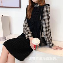 很仙的针织连衣裙格子衬衫两件套洋气网红毛衣套装女19秋复古时尚