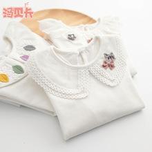 2019春裝新款女童長袖上衣圓領打底衫兒童裝中大童T恤寶寶白色
