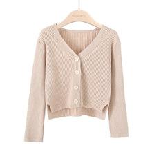 包芯紗開衫春秋女裝韓版短款長袖純色坑條針織衫慵懶風毛衣外套潮