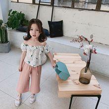 女童衬衫2019夏季新款韩版?#34892;?#31461;女童潮范舒适两色一字肩碎花上衣