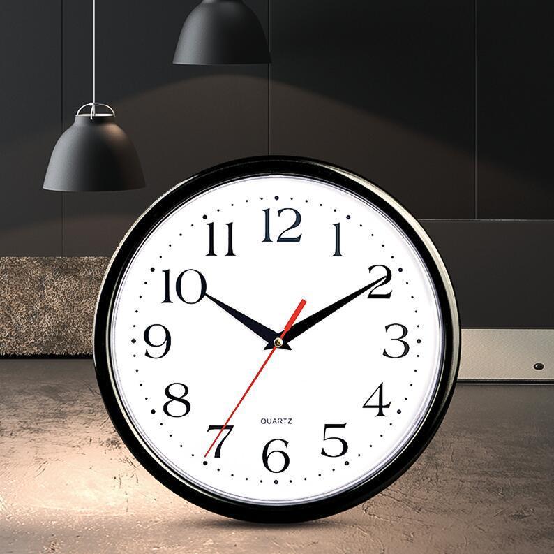 圆形白底挂钟钟表 客厅创意时尚装饰塑料钟表简约现代家居用品