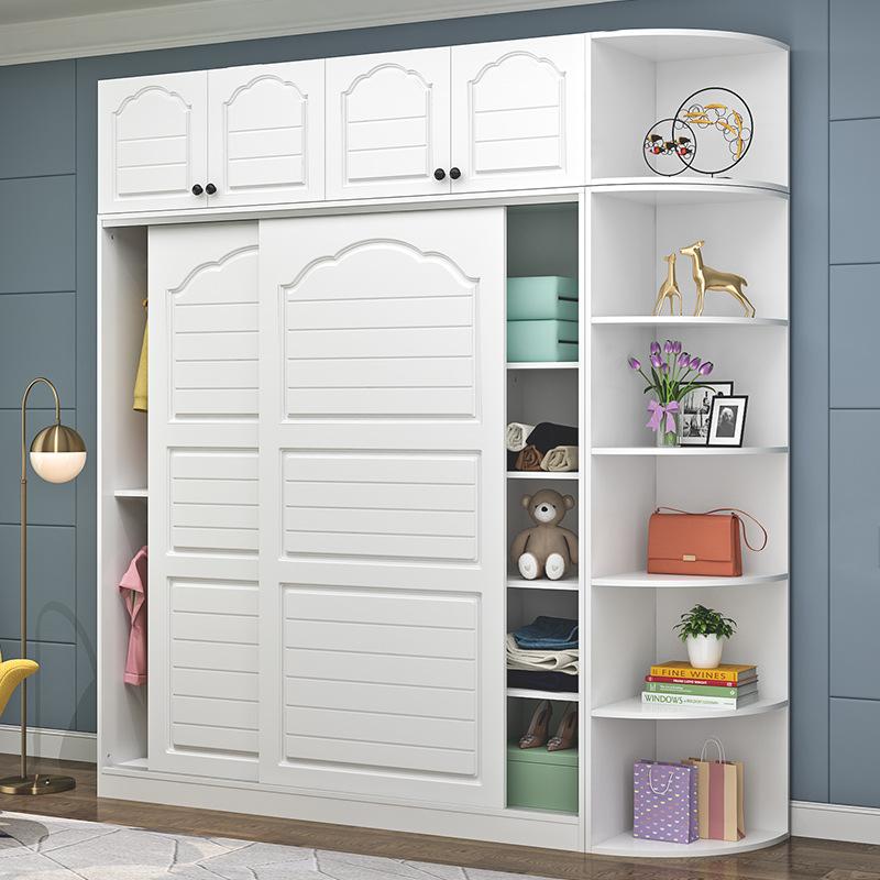推拉门衣柜现代简约实木板式柜子卧室儿童大衣橱组装经济型可定制