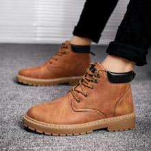 2018新款春季马丁靴男潮雪地靴短靴英伦中高帮男鞋工装沙漠靴棉鞋