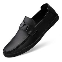 男鞋駕車豆豆鞋男秋季透氣韓版潮流青年鞋真皮圓頭皮鞋套腳修面皮