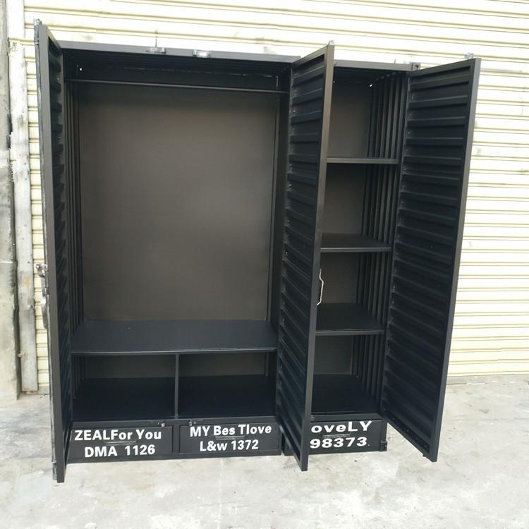 LOFT美式工业风铁艺集装箱衣柜复古衣橱做旧衣帽鞋柜收纳柜可定制