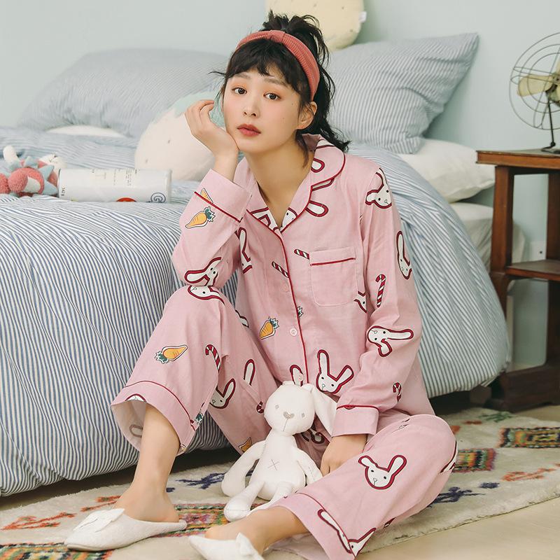 睡衣女夏长袖纯棉纱布薄款套装日系家居服女春夏韩版清新学生可爱