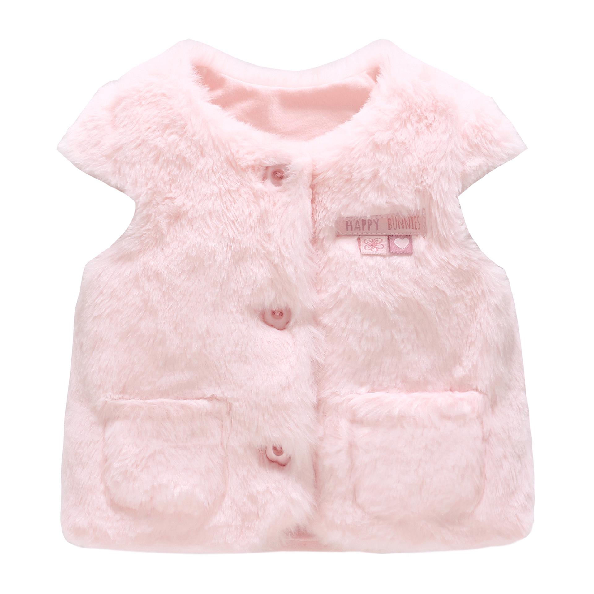 舞灵蝶童装女童外套2019秋季新款儿童保暖背心粉色兔子儿童棉马甲