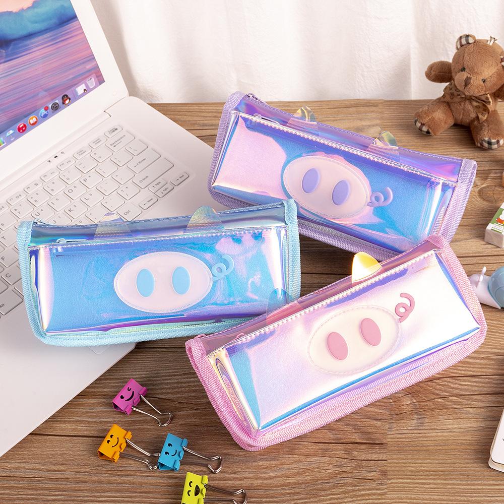 韩版镭射小猪笔袋 卡通可爱儿童文具盒 厂家直销幻彩简约创意笔袋-