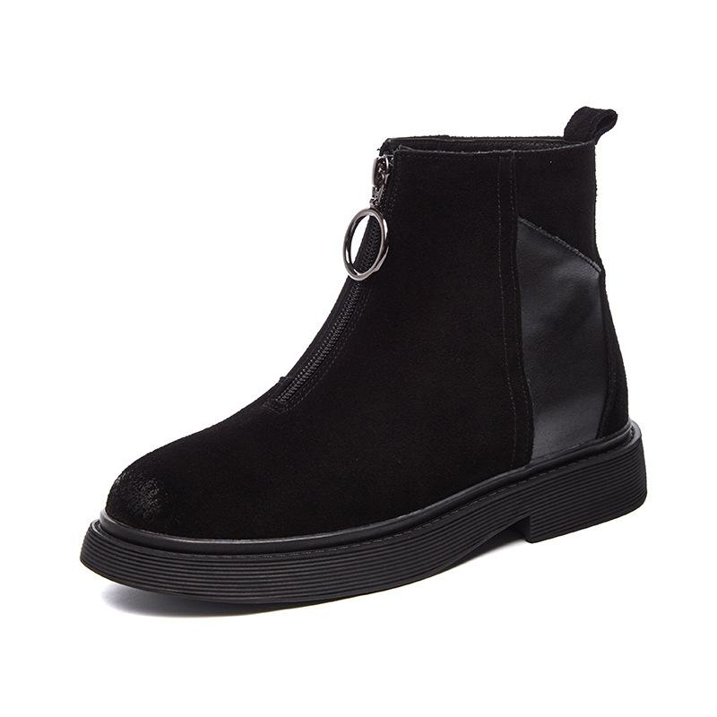 外贸马丁靴2019秋冬新款绒面女短靴前拉链韩版百搭时装靴女鞋爆款