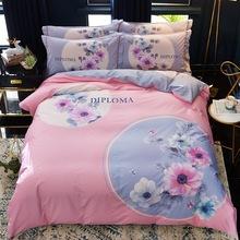 全棉四件套纯棉被套简约床单1.8m床上用品双人1.5米活性印花床品