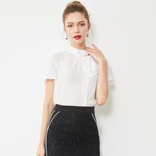 19118品牌女装2019春夏新品纯色短袖拼接气质优雅显瘦衬衫上衣