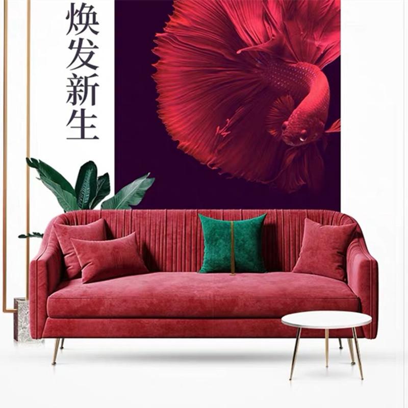 北欧后现代布艺沙发小户型轻奢三人位沙发网红款客厅红色绒布沙发