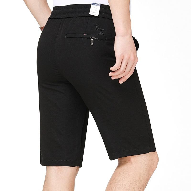 2019夏季新款运动短裤男薄款商务休闲五分裤纯黑色中长短裤品牌