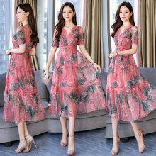 连衣裙碎花V领中腰单件19新夏季X型中长款女装厂家直销一件代发