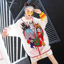 泰国潮牌2019夏季新款卡通chic防晒衣女中长款宽松大码开衫薄外套