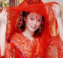 结婚婚庆用品婚礼大红红色纱巾盖头头纱披肩蒙头手套新娘嫁妆道