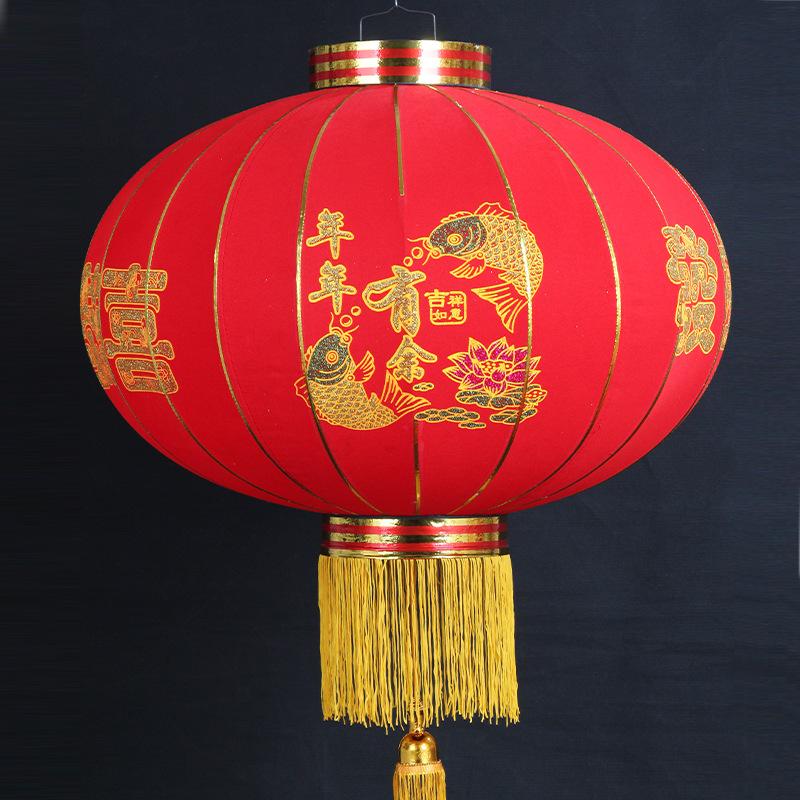 新款植绒灯笼 婚庆灯笼 春节灯笼大红春节植绒布灯笼户外装饰用品