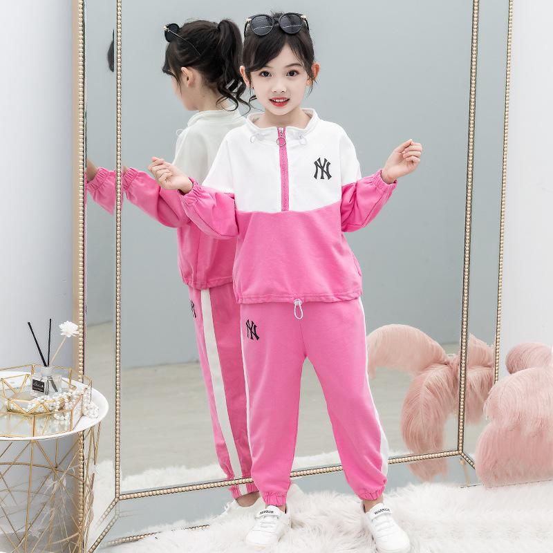 女童秋款新品套装卫衣两件套 纯棉女童运动秋装中大童套装秋季