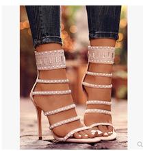 韩版新款夜店女鞋性感水钻细跟露趾罗马鞋高跟凉鞋宴会鞋 8120
