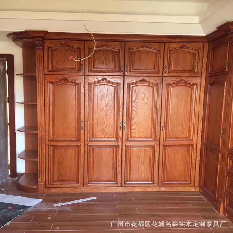 厂家直销  卧室 中式实木衣柜实拍 平开门衣柜 支持来图来样定制