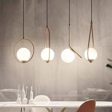北歐簡約單頭吊燈 個性創意led燈具 現代餐廳吧臺臥室床頭小吊燈