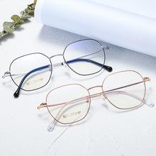 2019新款鈦合金眼鏡架 多邊形復古純鈦眼鏡框超輕B鈦平光鏡lP電鍍