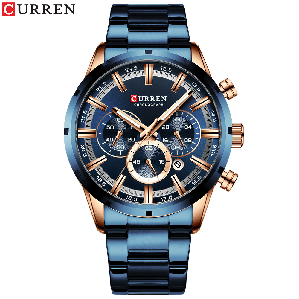 Curren/卡瑞恩新品8355男士手表 防水石英六针日历钢带商务男表