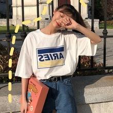 短袖女2019新款韓版寬松ulzzang百搭字母印花中長款學生T恤上衣