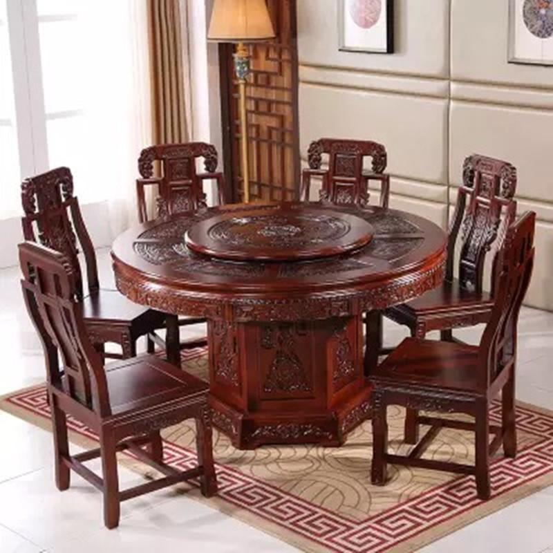 仿古餐桌椅组合实木家用圆形带转盘饭桌中式雕花1.5m/1.8米圆桌子