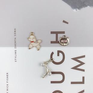 diy合金小猫贵兵犬珍珠树枝手工制作配件材料耳环耳饰饰品挂件