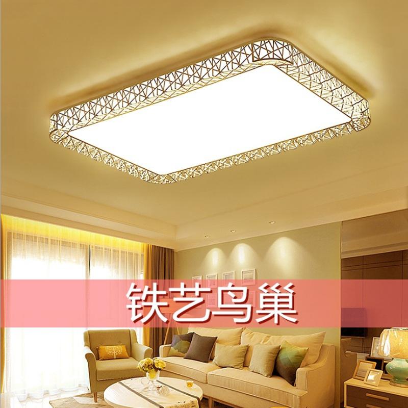 简约LED吸顶灯 双色长方形客厅灯鸟巢款卧室灯无极调光铁艺灯批发