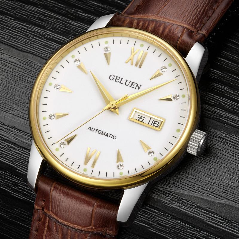 男士品牌超薄机械表正品 瑞士进口高档夜光双日历皮带男士手表-
