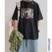 港仔文艺男 潮牌卡通T恤夏季新款韩版宽松时尚短袖衣服学生上衣