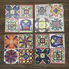 地中海艺术墙面瓷砖手绘彩色花砖地板砖阳台餐厅厨房室内磁砖墙砖