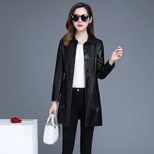 女装皮衣厂家 OL气质韩版秋冬中长款翻领修身pu皮风衣 女式皮衣