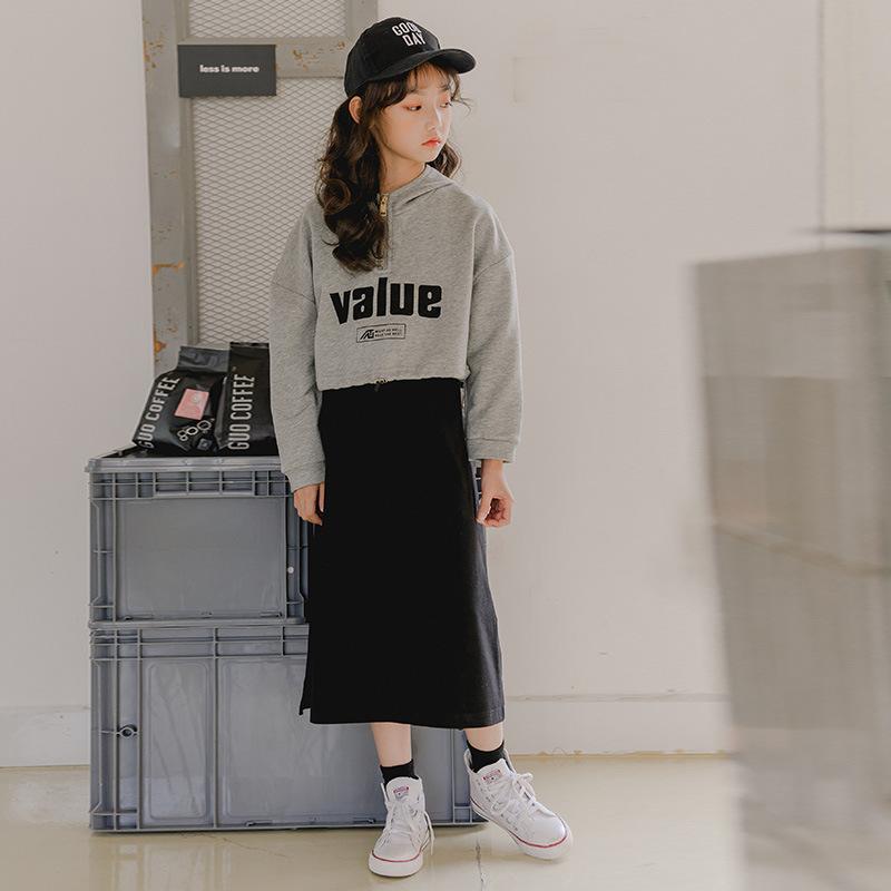韩版女童套装19秋冬新款连帽字母短款卫衣+休闲长裙中大童两件套
